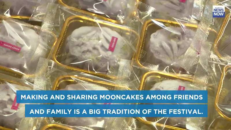 Making and sharing mooncakes among friends and family is a big tradition of the Moon Festival.
