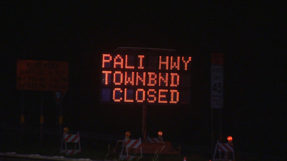 Pali Highway will be closed for roadwork.
