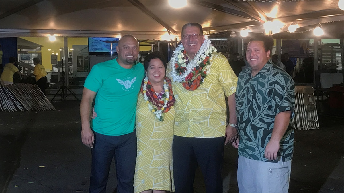 Maui County Mayor-elect Mike Victorino celebrates win  over opponent Elle Cochran in 2018...