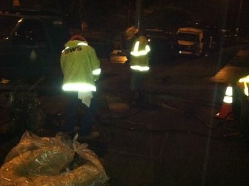 Board of Water Supply crews working to fix the Mililani water main break on Tuesday morning.