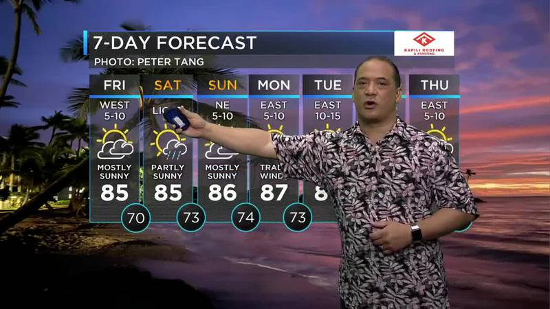 Billy V gives you the latest on the 7-day forecast to help plan your weekend.
