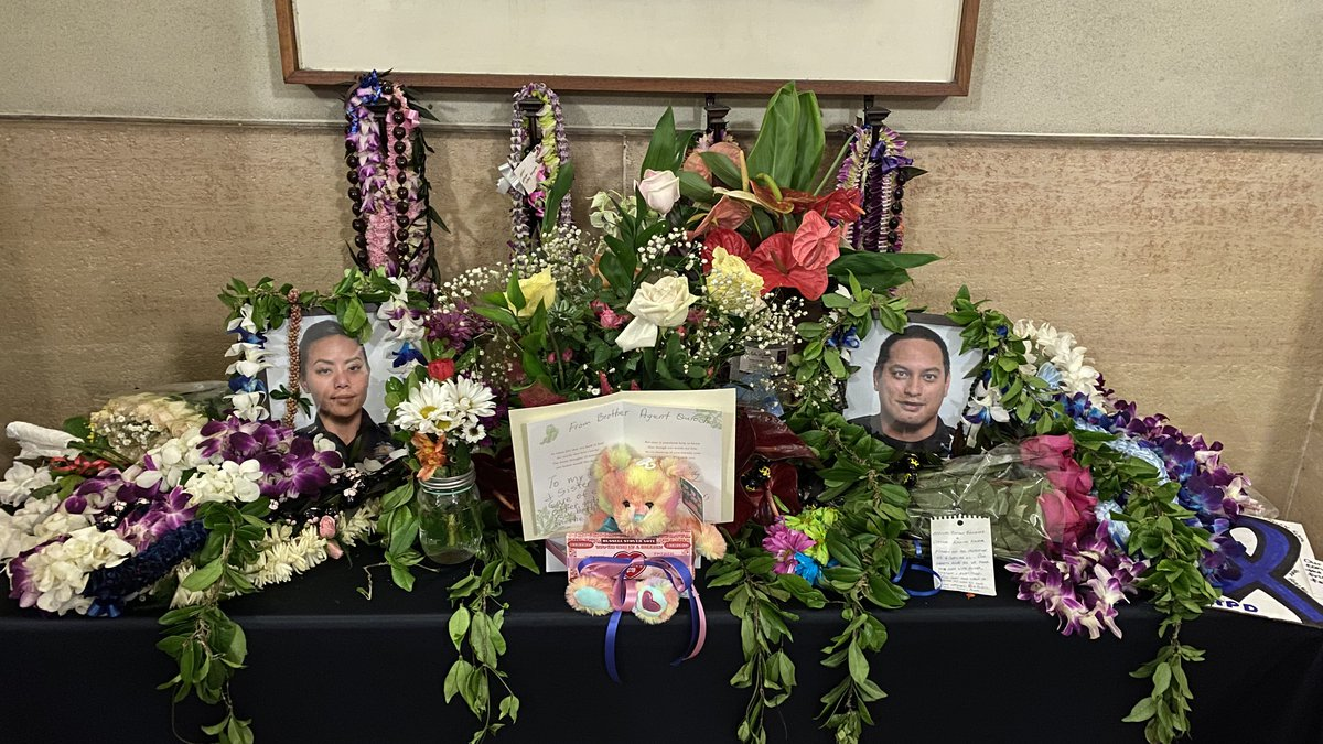 The Honolulu Police Department set up a memorial at its headquarters for fallen Officers...