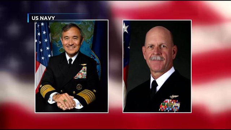 Adm. Harry B. Harris, Jr. (left), Adm. Scott H. Smith (right)