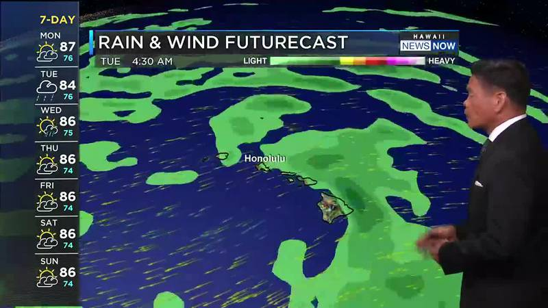 Trades are easing, with wetter weather on the horizon