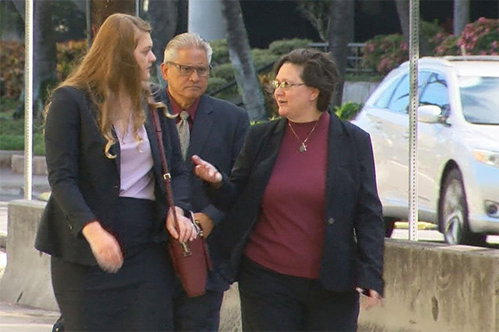 Katherine and Louis Kealoha walk into federal court on Wednesday morning for the first day of...