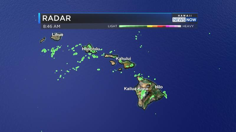 Radar shows spotty showers around the state Sunday morning.