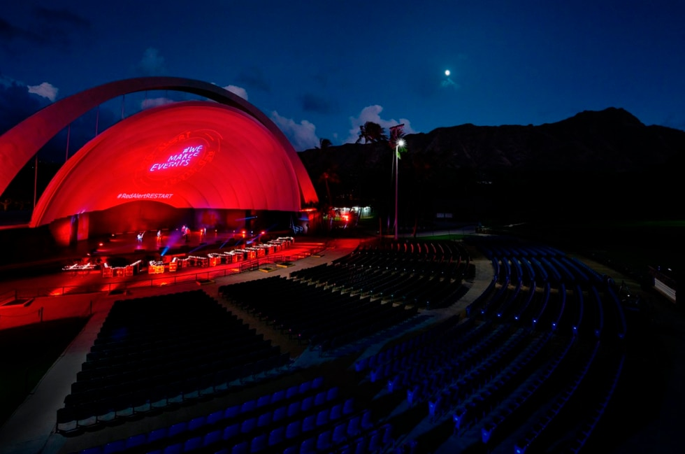 Major landmarks and venues on Oahu went red overnight on Tuesday for #RedAlertRestart.