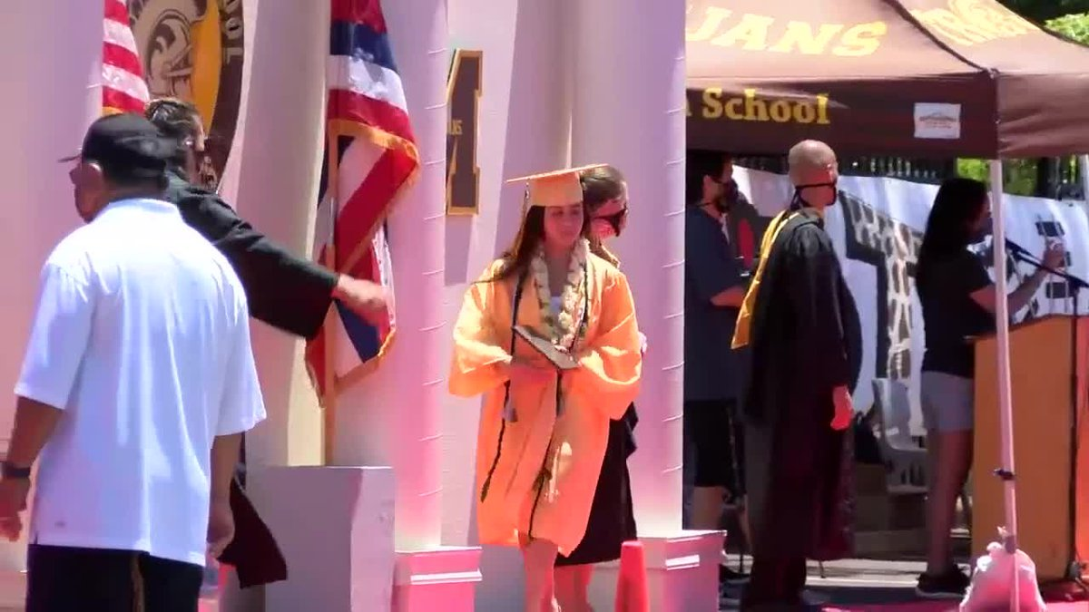 Over 640 graduates celebrated in a drive-through ceremony at Mililani High School