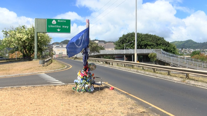 Loved ones of 19-year-old Triston Billimon held a candlelight vigil near the Likelike off-ramp...