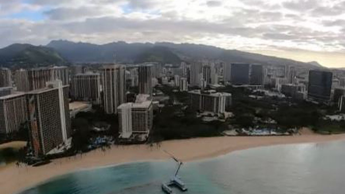 View from helicopter of Waikiki Beach on April 8, 2020.
