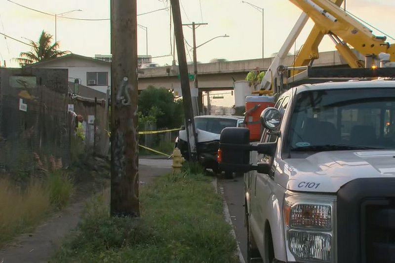 A van slammed into a pole in Palama, causing a widespread power outage.
