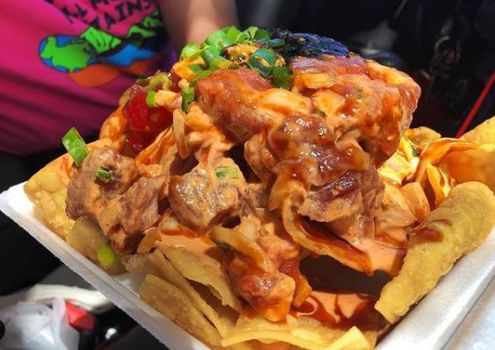 Poke nachos from Poke On Da Run in Pearl City.