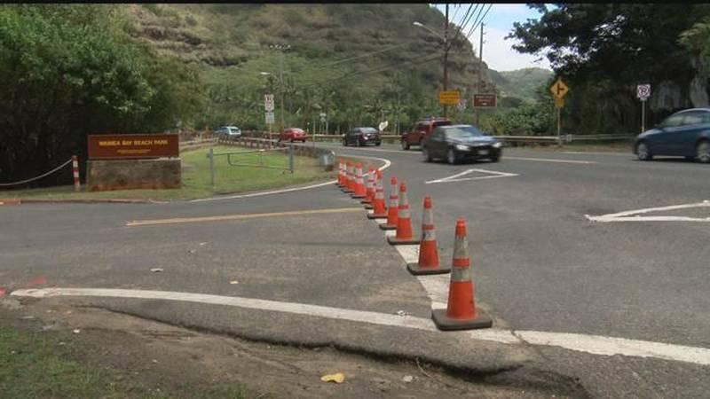 Waimea Bay parking lot closed for upgrades, repaving