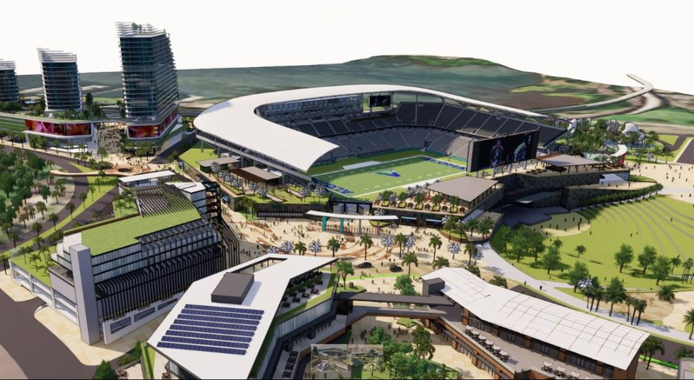 This rendering is a conceptual view of the new Aloha Stadium within the state's proposed...