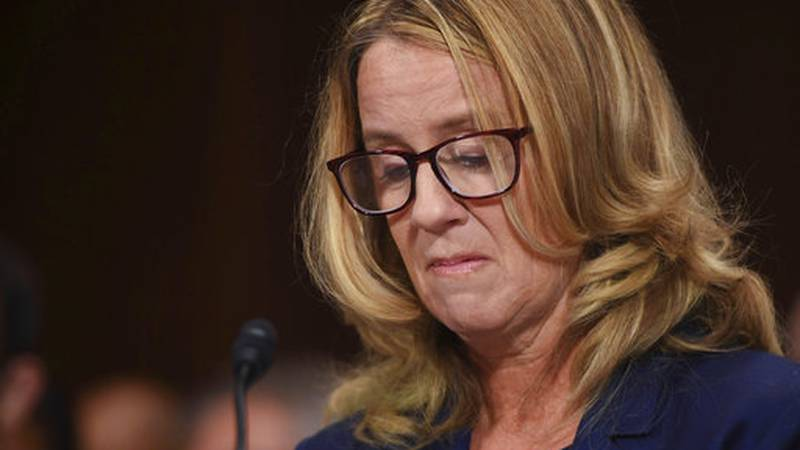 Christine Blasey Ford testifies to the Senate Judiciary Committee on Capitol Hill in...