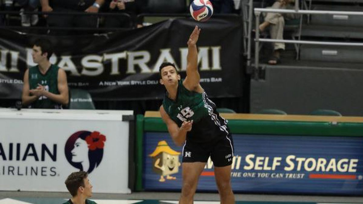 Rado Parapunov serves ace in UH's sweep over Concordia Friday night at the Stan Sheriff Center