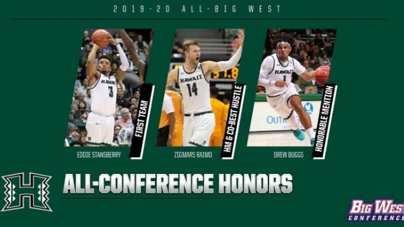 Senior guard Eddie Stansberry earned first-team honors, while Drew Buggs and Zigmars Raimo were...