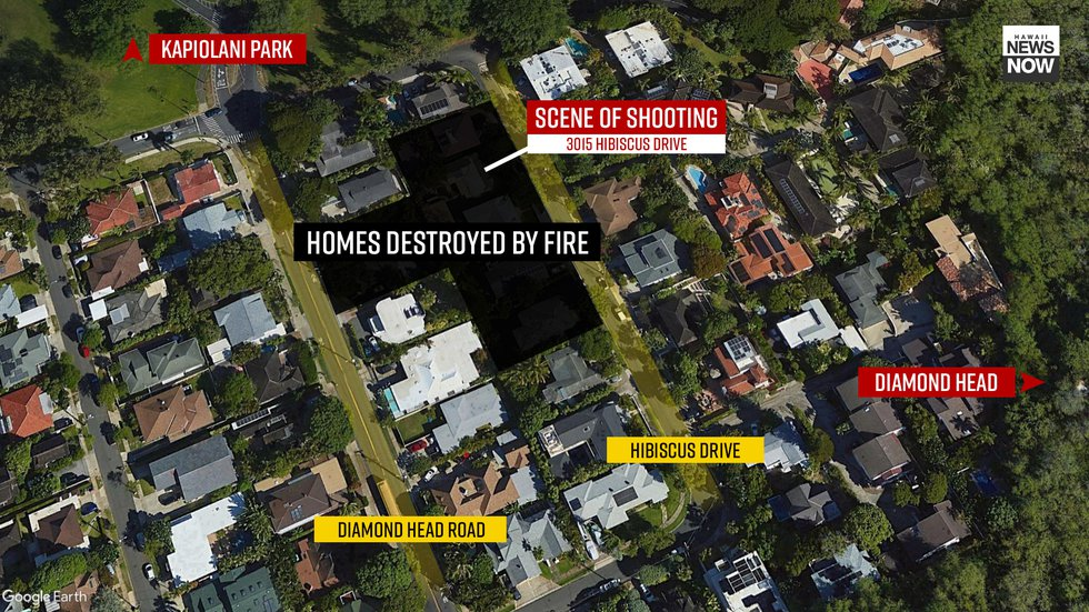 Seven homes in the Diamond Head area were destroyed Sunday following a shooting and fire that's...