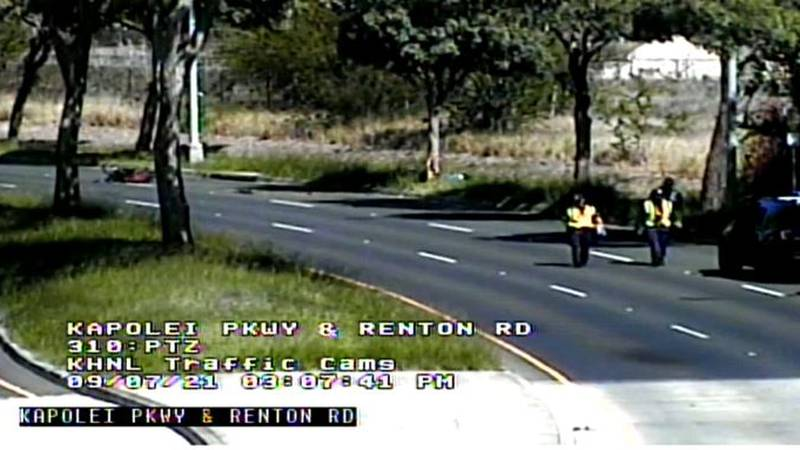 Traffic cameras captured the scene of the crash along Renton Road and Kapolei Parkway