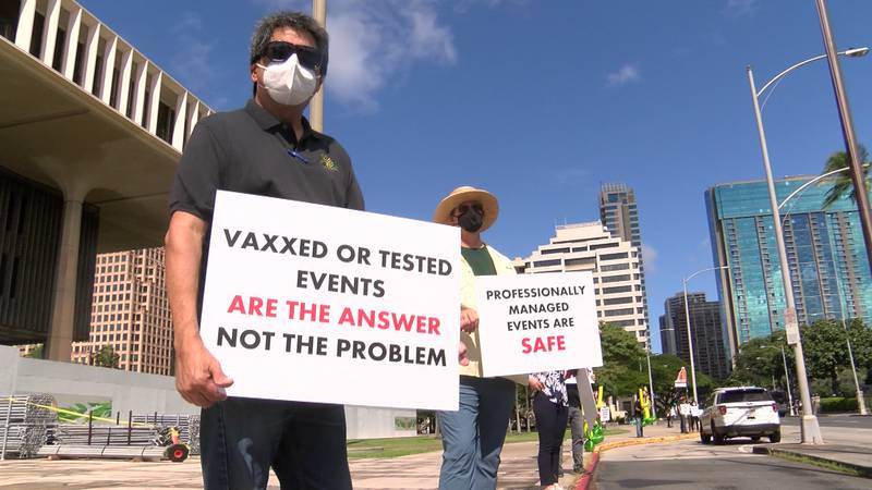 Oahu's live events businesses made their voices heard once again Thursday with a rally at the...