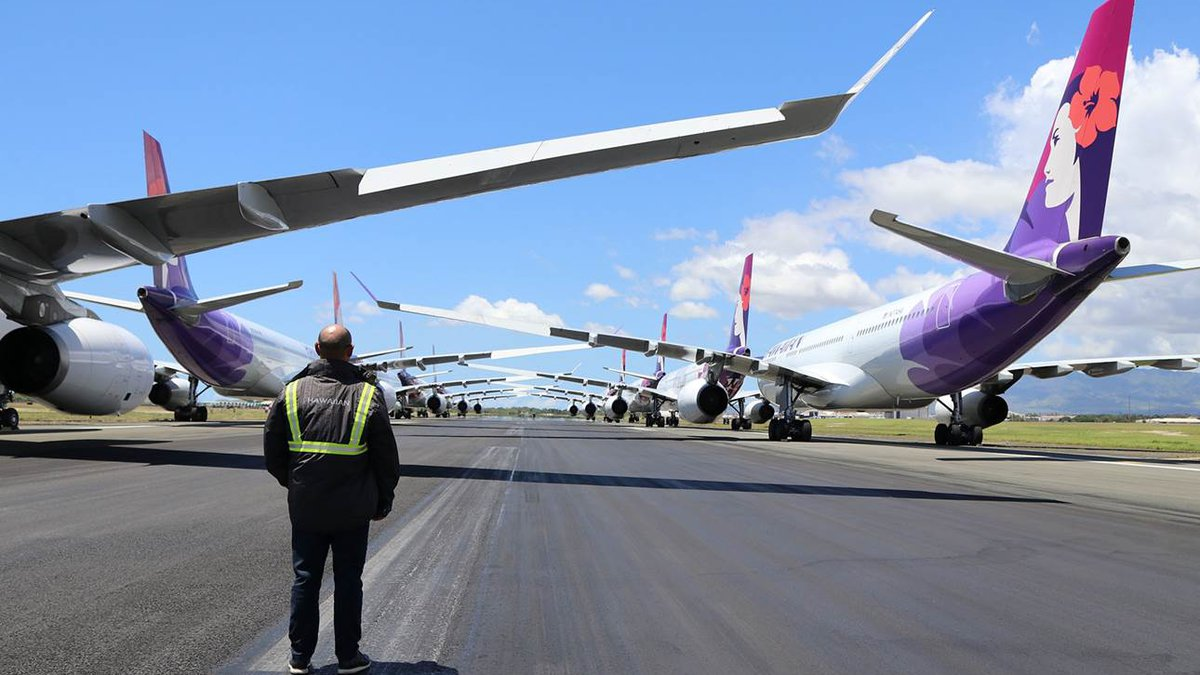 Hawaiian Airlines has parked most of its fleet amid the pandemic shutdown.