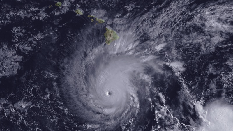 A NESDIS satellite image of Hurricane Lane near Hawaii in August 2018, provided by NOAA.