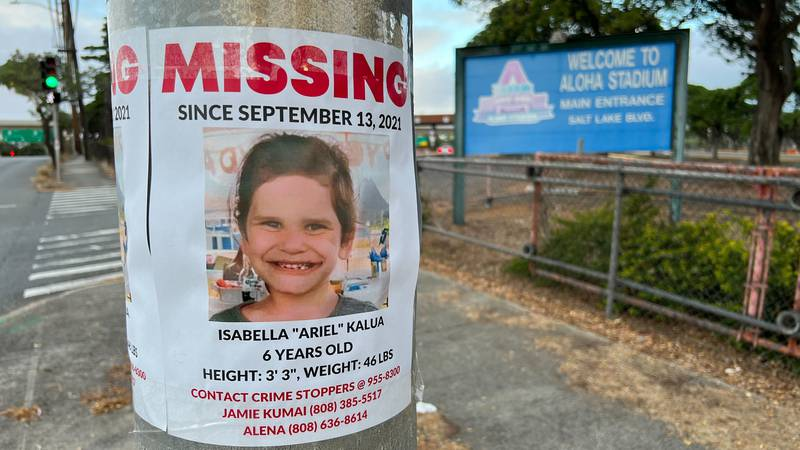 A flier for the missing 6-year-old was recently put up on a street pole in Halawa, next to...