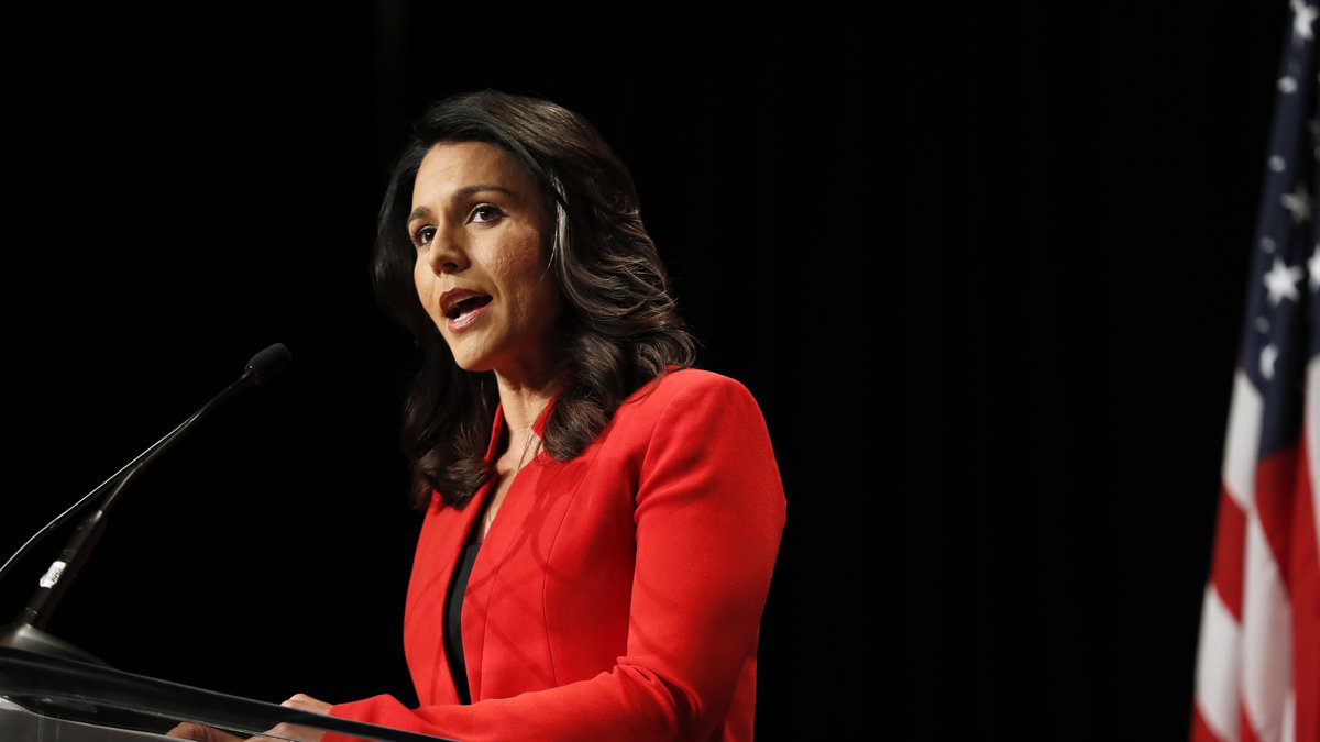 Democratic presidential candidate Tulsi Gabbard speaks during the Iowa Democratic Party's Hall...