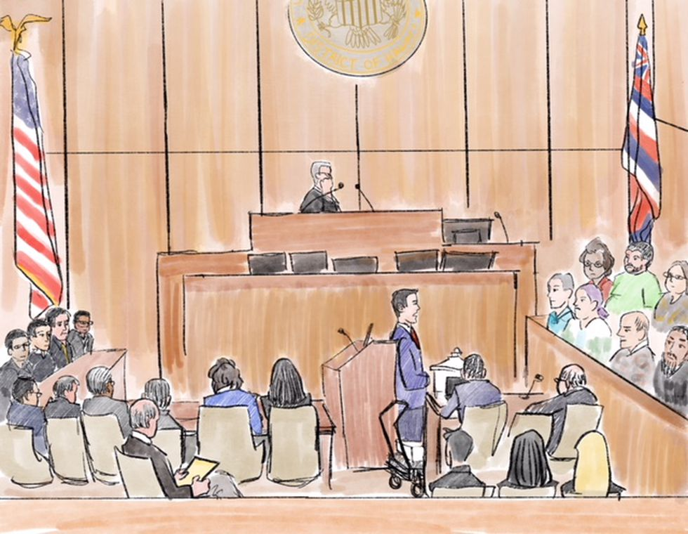In this courtroom illustration, a federal prosecutor can be seen delivering closing statements...