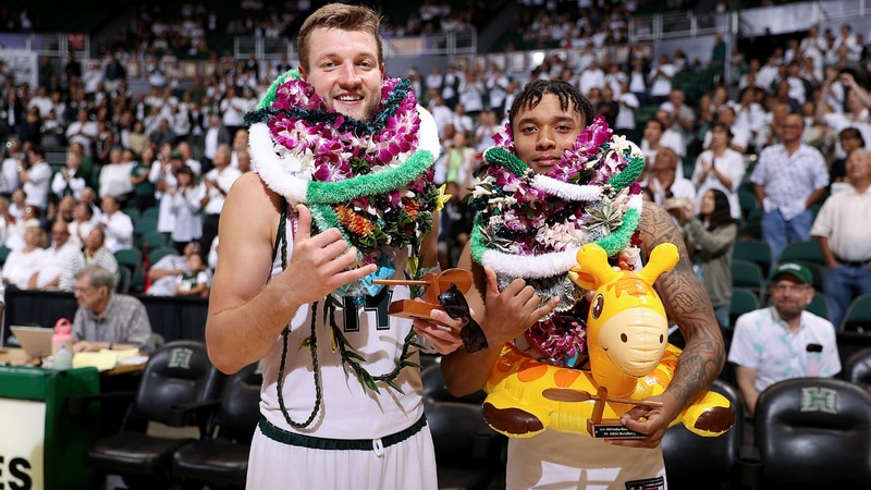 'Bows Zigmars Raimoa and Eddie Stansberry were honored following the game.