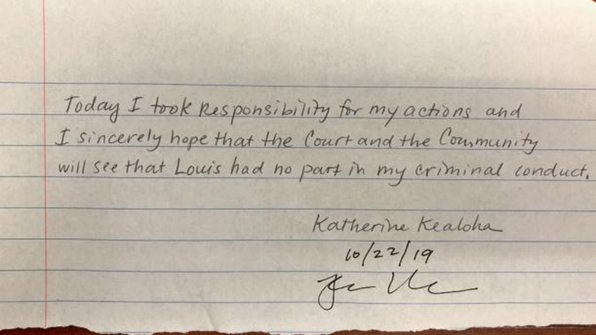 This is the handwritten Katherine Kealoha wrote following her guilty plea Tuesday.