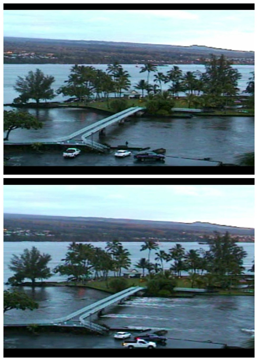 Hilo Bay webcam shows before and after photos at around 6 a.m.