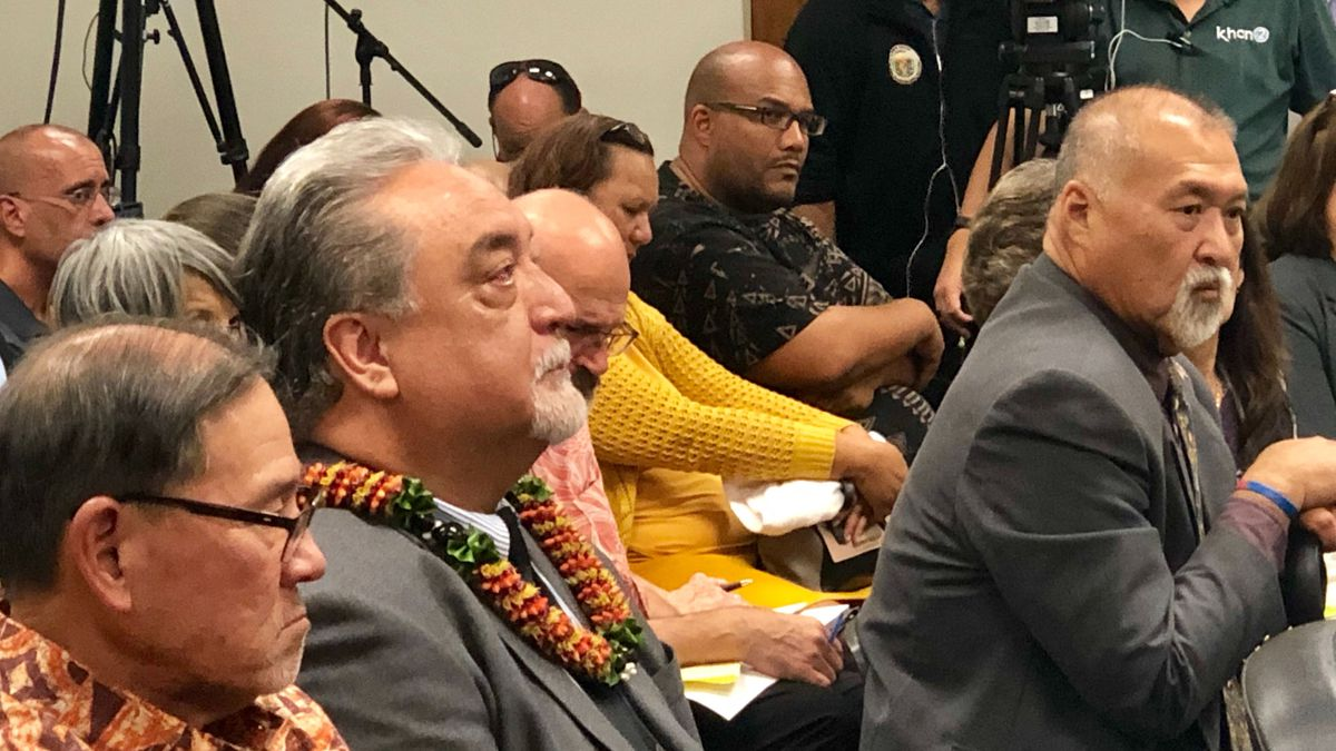Nolan Espinda participates in a confirmation hearing at the Hawaii State Capitol in April 2019.