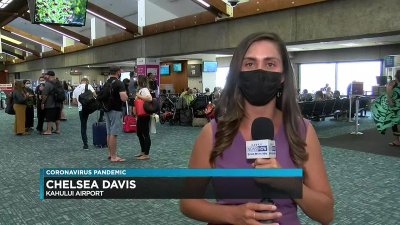 Maui airport packed as travel restrictions ease