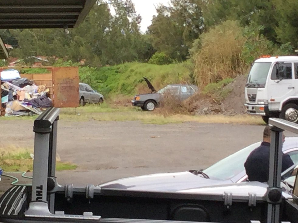 The car with the suspected pipe bomb is seen here in a Big Island tow yard. Photo Courtesy:...