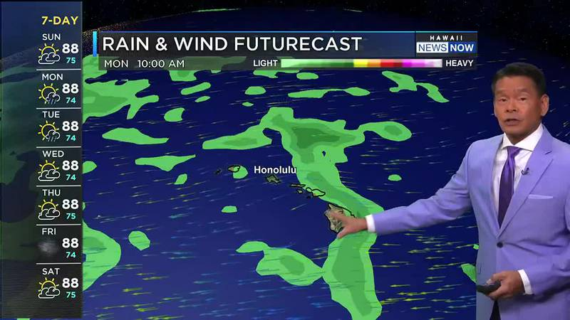 Trade winds will be locally breezy with passing windward showers.