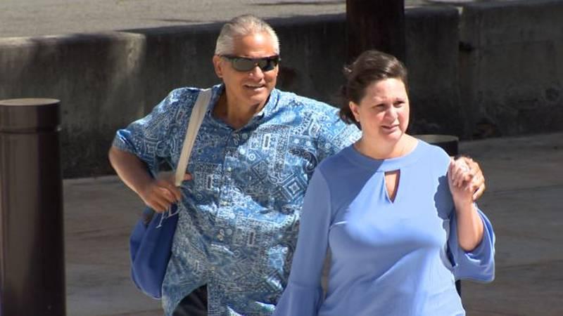 Former deputy city Prosecutor Katherine Kealoha and her husband, Louis, walk into the federal...