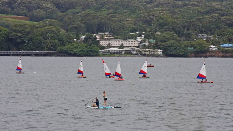 People out on the waters of Hilo Bay earlier this week.