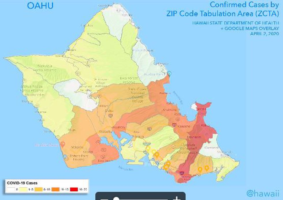 Here's a look at where the reported cases of coronavirus on Oahu are located.