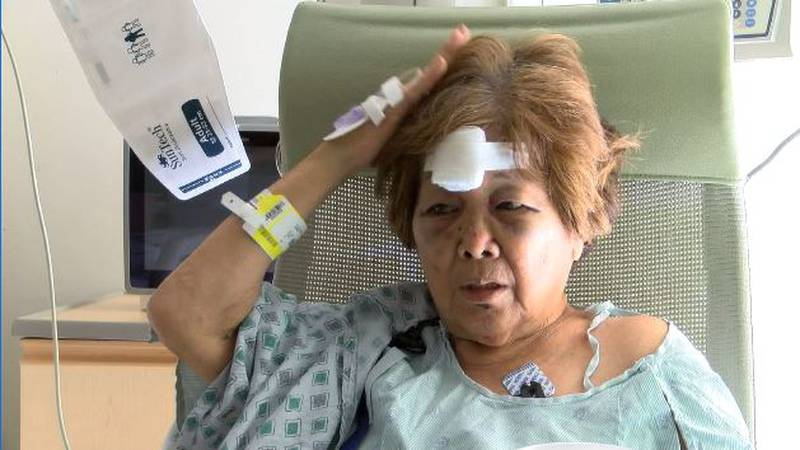 74-year-old Charlotte Ahlf says she was dragged several feet by the thief's vehicle as she held...