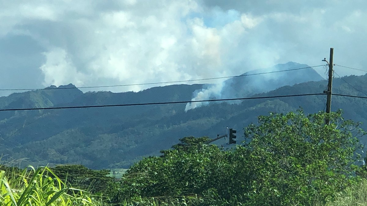 Smoke was visible in the Schofield mountains from the unmanned aircraft. (Image: Hawaii News Now)