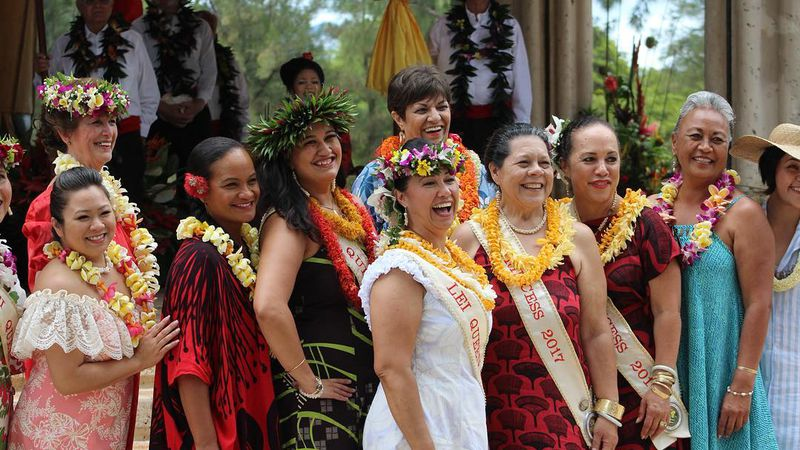 Former Lei Queens gather at the City and County of Honolulu's Annual May Day Celebration at...