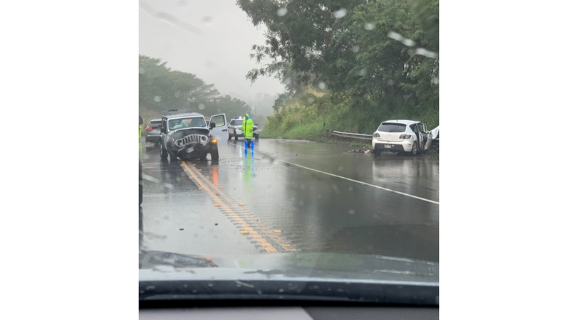 Road conditions were wet and dangerous during the time of the crash Saturday.
