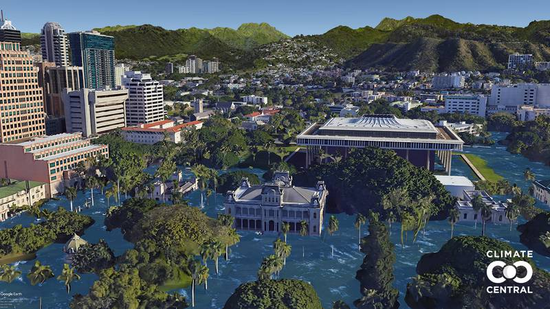 New visualizations show what Downtown Honolulu would look like in a future where global warming...