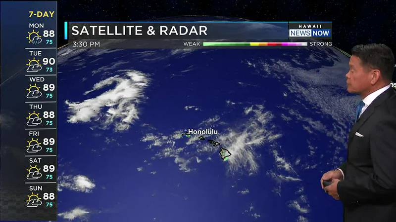 Passing clouds and showers will be riding in on locally breezy trade winds.