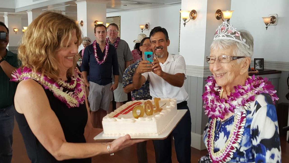 Burrill was honored with lei and a cake over the weekend.
