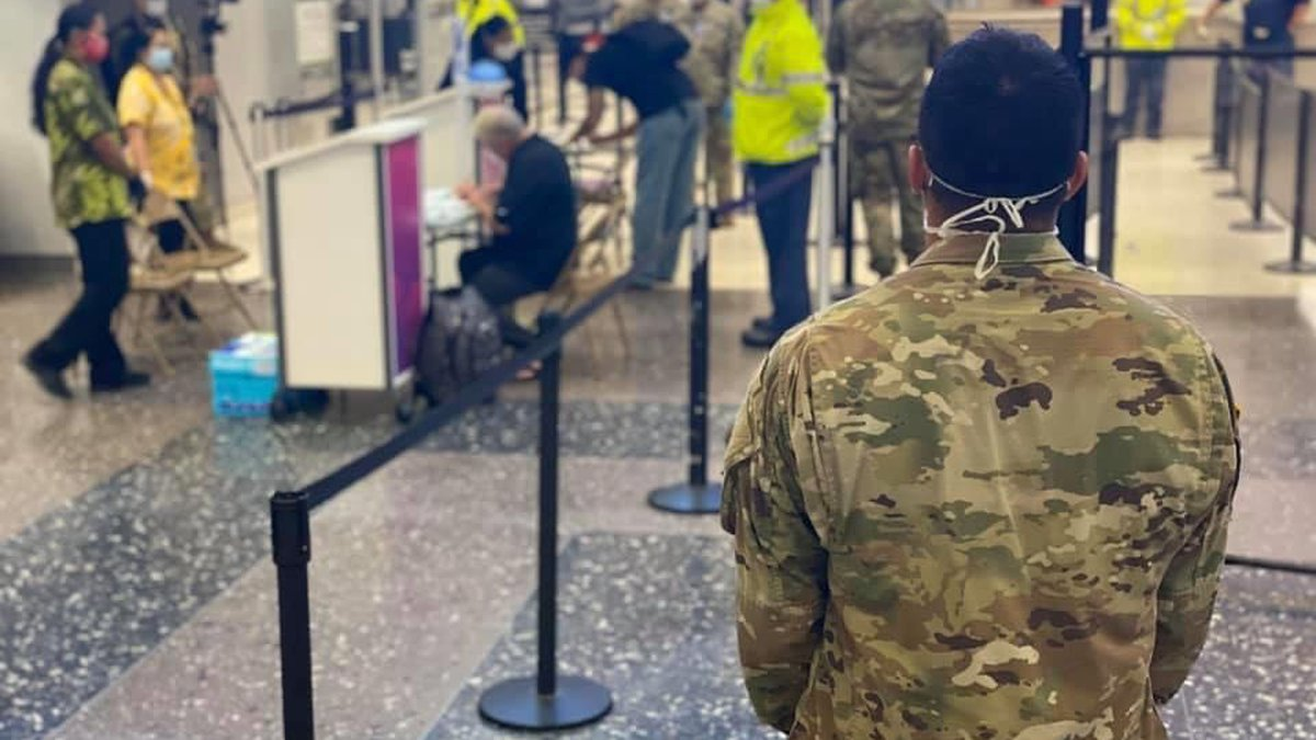 A Hawaii National Guard member is among hundreds to assist with screening passengers at...