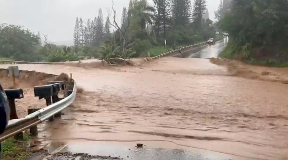 Severe flooding along Hana Highway Monday afternoon.