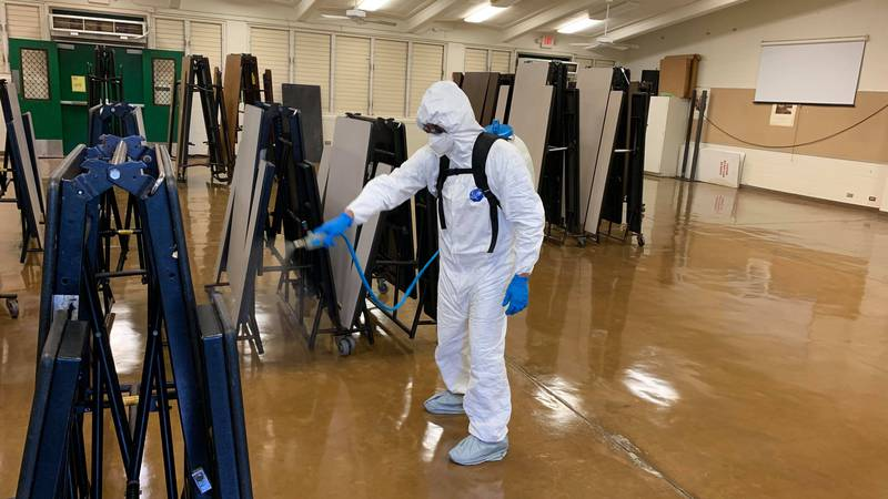 Crews planned to sanitize and disinfect more than two dozen businesses and public areas in East...