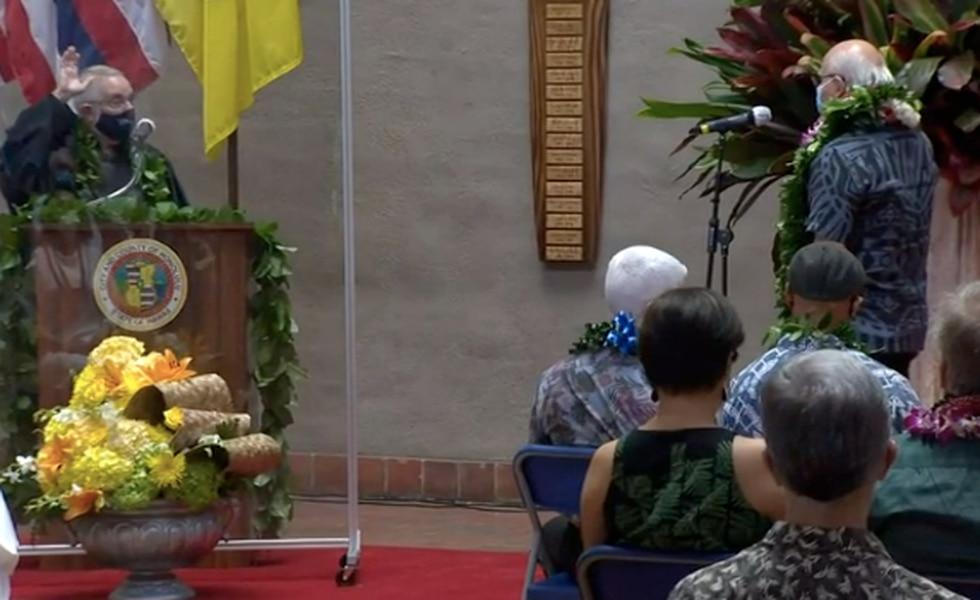 Rick Blangiardi was sworn in as Honolulu's new mayor on Saturday at city hall.